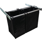 ''Synergy'' Collection 2-Bag Extendable Hamper, w/ 1 Large & 1 Small Bag, in Polished Chrome, 30''W x 14''D x 21-1/2''H