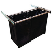 ''Synergy'' Collection 2-Bag Extendable Hamper, w/ 1 Large & 1 Small Bag, in Matt Nickel, 30''W x 14''D x 21-1/2''H
