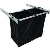 ''Synergy'' Collection 2-Bag Extendable Hamper, w/ 2 Small Bags, in Matt Aluminum, 24'' W x 14'' D x 21-1/2''H