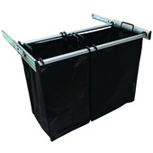 ''Synergy'' Collection 2-Bag Extendable Hamper, w/ 1 Large & 1 Small Bag, in Matt Aluminum, 30''W x 14''D x 21-1/2''H