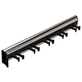 ''Synergy'' Collection Telescopic Belt Rack with 5 Hooks, 11-15/16'' Long, Polished Chrome w/ Black Hooks
