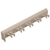 ''Synergy'' Collection Telescopic Belt Rack with 5 Hooks, 11-15/16'' Long, Almond Powder-Coat w/ Almond Hooks