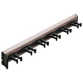 ''Synergy'' Collection Telescopic Belt Rack with 6 Hooks, 14-1/8'' Long, Matt Nickel w/ Black Hooks