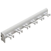 ''Synergy'' Collection Telescopic Belt Rack with 6 Hooks, 14-1/8'' Long, White Powder-Coat w/ White Hooks
