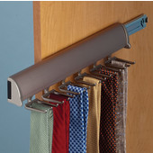 ''Synergy Elite'' Collection Telescopic Tie Rack, Matt Nickel, for Door or Side of Wardrobe Mounting, Available in Other Sizes