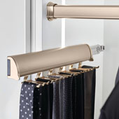 ''Synergy Elite'' Collection Telescopic Tie Rack, Matt Gold, for Door or Side of Wardrobe Mounting, Available in Other Sizes