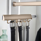 ''Synergy Elite'' Collection Telescopic Belt Rack, Matt Gold, for Side or Door of Wardrobe, Different Lengths Available