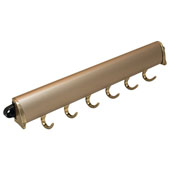 ''Synergy Elite'' Collection Fixed Wardrobe Accessory Hooks, Matt Gold, Available in Different Lengths