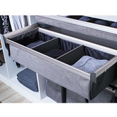 Engage Divided Deep Drawer, Matt Nickel Frame with Slate Fabric, 30''