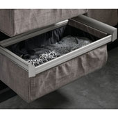 Engage Divided Deep Drawer, Matt Nickel Frame with Slate Fabric, 18''
