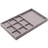 Jewelry Tray, Faux Suede, Gray, 23''W x 14''D x 2''H