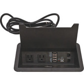 Dock-650 Power/ Data Bar � Two Outlet, 4 USB Ports, 1 Ethernet Coupler, & 1 Phone Coupler, Under Mount, 10' Power Cord, Plastic, Black