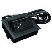 Hide-A-Dock Power/Data Station, with 10' Power Cord, 1 Grounded AC Outlet, 2 Charging USB Ports, Aluminum, Black