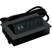 Hide-A-Dock Power/Data Station, with 10' Power Cord, 2 Grounded AC Outlets & 2 Charging USB Ports, Aluminum, Black