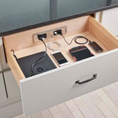Docking Drawer, Style Blade Duo Charging Outlet, with 2 AC Outlets and 6 USB Ports, For 24'' Cabinet Depth, Stainless Steel