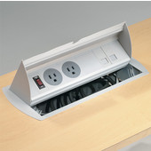 Horizontal Powerdock, with 10' Power Cord, 2 Grounded Outlets, Blank Data Plate, Plastic/Aluminum, Gray