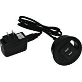 Charging Grommet, w/ 2 USB 2.0A Charging Ports, Plastic, Black