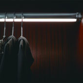 ''Synergy Elite'' Wardrobe Tube Rail Kit with Loox LED 2037 Flexible Strip Light, Warm White 3000K, Matt Aluminum, 36'' Length