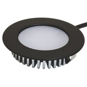 LOOX 12V #2020 Recess Mounted Round Downlight with 6 LEDs, Warm White 3000K, 55mm (2-3/16'') Dia., Black, IP44