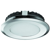 LOOX 12V #2039 Recess Mounted Round LED Light with 18 LEDs, Warm White 3000K, 58mm (2-1/4'') Length, Polished Chrome