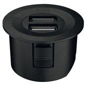 LOOX 12V USB Converter with Round Trim Ring, Black, 1-5/8'' Diameter
