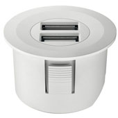 LOOX 12V USB Converter with Round Trim Ring, White, 1-5/8'' Diameter