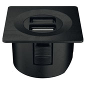 LOOX 12V USB Converter with Square Trim Ring, Black, 1-5/8'' Diameter