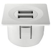 LOOX 12V USB Converter with Square Trim Ring, White, 1-5/8'' Diameter