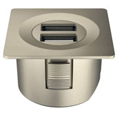 LOOX 12V USB Converter with Square Trim Ring, Nickel Matt, 1-5/8'' Diameter