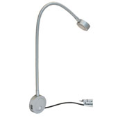 LOOX 12V #2034 Flexible LED Reading Light with USB Charging Station with 3 LEDs, Cool White 4000K, 450mm (17-3/4'') Length, Matt Silver