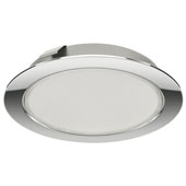 LOOX 24V LED #3038 Recess/Surface Mount Round Puck Light, Warm White 3000 K, Polished Chrome