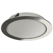 LOOX 24V LED #3038 Recess/Surface Mount Round Puck Light, Cool White 4000 K, Stainless Steel