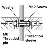 Fastener Mounting Accessory, Back-to-back, for 5/16'' - 1/2'' (8-12mm) glass door thickness