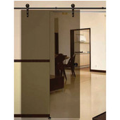 Antra I Sliding Door Hardware for Glass Doors Up to 220 lbs. each, with Solid Stainless Steel Track, Dark Bronze, 7' 6-9/16'' Length