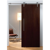Flatec I Sliding Door Hardware for Wood Doors Up to 220 lbs. each, with Solid Stainless Steel Track, Matt Stainless, 5' 10-7/8'' Length