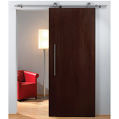 Flatec II Sliding Door Hardware for Wood Doors Up to 220 lbs. each, with Solid Stainless Steel Track, Matt Stainless, 8' 4'' Length