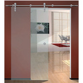 Flatec IV Sliding Door Hardware for Glass Doors Up to 220 lbs. each, with Hollow Stainless Steel Track, Matt Stainless, 8' 4'' Length