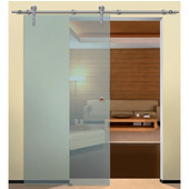 Project Sliding Door Hardware for Glass Doors Up to 220 lbs. each, with Hollow Stainless Steel Track, Matt Stainless, 5' 10-7/8'' Length
