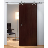 Tritec Sliding Door Hardware for Wood Doors Up to 220 lbs. each, with Solid Stainless Steel Track, Matt Stainless, 6' 10-11/16'' Length