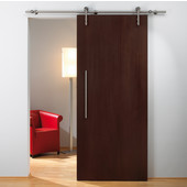 Unotec Home Sliding Door Hardware for Wood Doors Up to 220 lbs. each, with Solid Stainless Steel Track, Matt Stainless, 5' 10-7/8'' Length