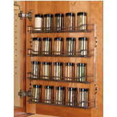 Door Mount Kitchen Spice Rack with 4 Shelves, Chrome, 9-5/8'' W x 2-5/8'' D x 15-9/16'' H