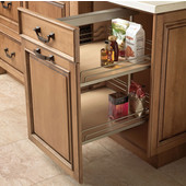 Height Adjustable Soft & Silent Base Cabinet Pull-Out, Champagne or Silver Finish, 3-3/4''W x 21-3/8''D x 26-3/8'' - 32''H