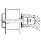 Fastener, for Pull Handles, One-Sided, Matt Stainless Steel, for 11 - 44mm (7/16'' - 1-3/4'') wood or glass door thickness