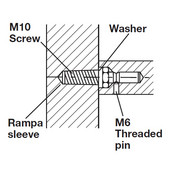 Fastener Mounting Accessory, One-Sided, with Rampa sleeve, for wooden doors (concealed)