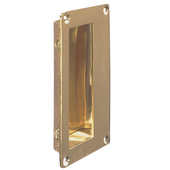 Square Flush Pull for Sliding Doors, Polished Brass, 114 x 64mm (4-31/64'' x 2-33/64'')