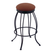 Holland Georgian Wrought Iron Swivel Bar Stool with Upholstered Seat & Black Wrinkle Metal Frame, 30in