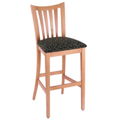 Holland Wood Slatback Bar Stool with Upholstered Seat, 25in