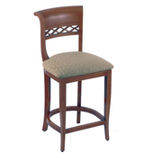 Holland Wood Sultan Bar Stool with Upholstered Seat, 25in