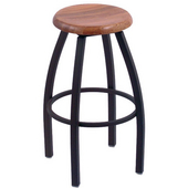 Holland Misha Swivel Bar Stool with Wooden Seat & Metal Frame, 36in