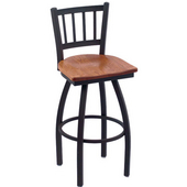 Holland Contessa Swivel Bar Stool with Wooden Seat & Metal Frame, 25in